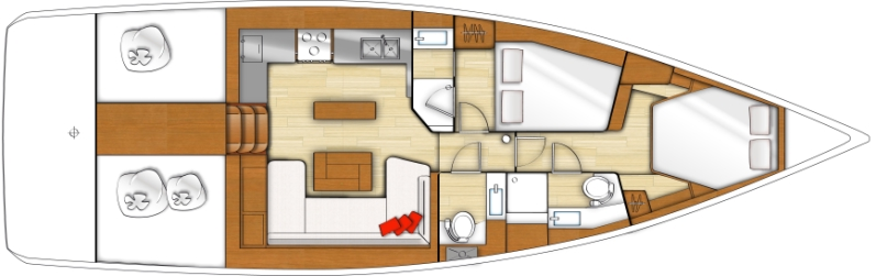 Bénéteau - Voilier Sens 46 - plan intérieur